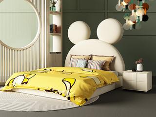 轻奢风格 柔软亲肤 米黄色 实木高箱 布艺 米老鼠床头C款1.5*2.0米儿童床(图片为排骨架床)