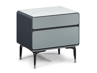 极简风格 蓝天白玉亮光岩板台面 防刮耐磨质感细腻 双层储物边柜