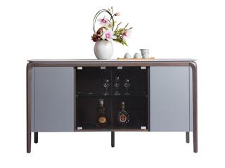 极简风格 优质黑橡木工艺 防刮耐磨岩板台面 质感细腻  餐边柜