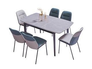 极简风格 高级白蜡木工艺 防刮耐磨岩板台面 质感细腻 稳固承重 多功能伸缩餐台