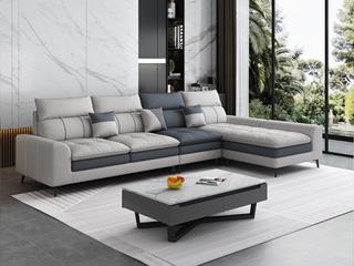 现代简约 全手工工艺 充盈羽绒 柔软舒适科技布 松木框架 浅灰色 2+2脚踏沙发组合(不分左右)